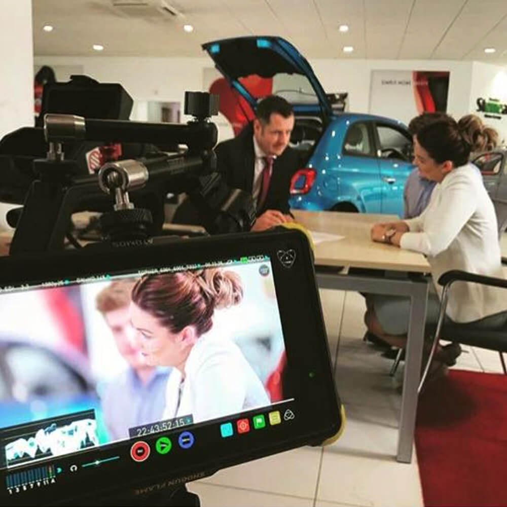 Recording a video in a car showroom