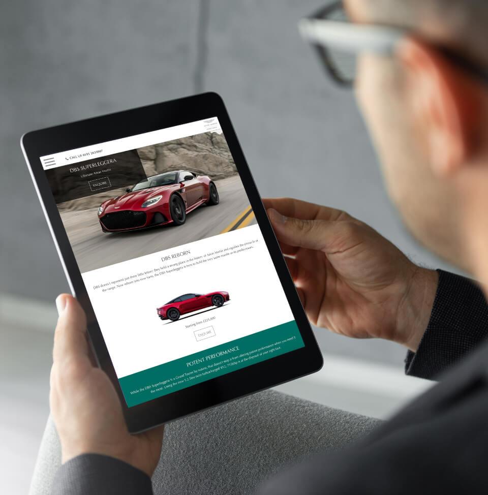 Aston Martin Newcastle site on iPad