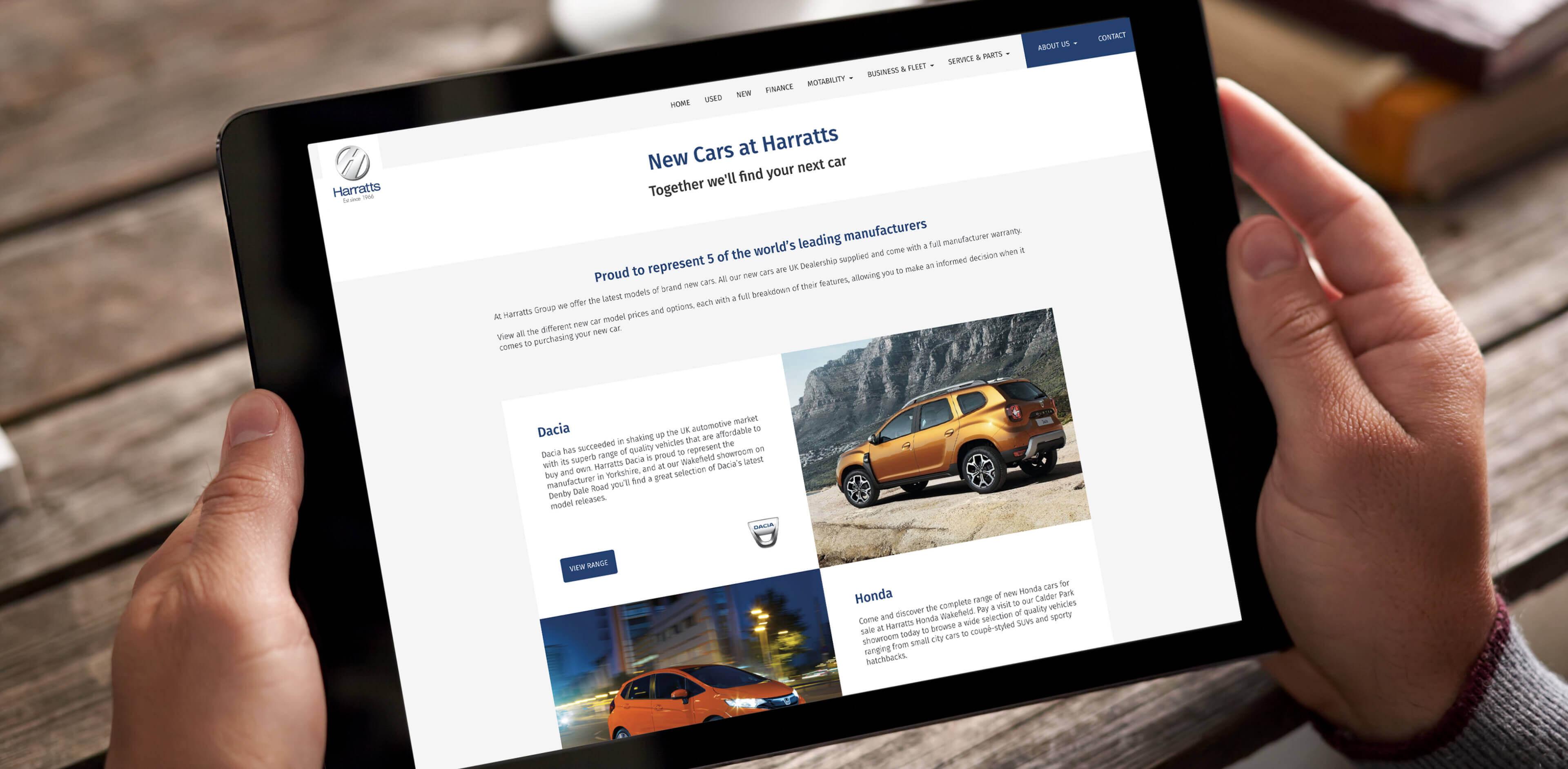 Harratts Website on tablet