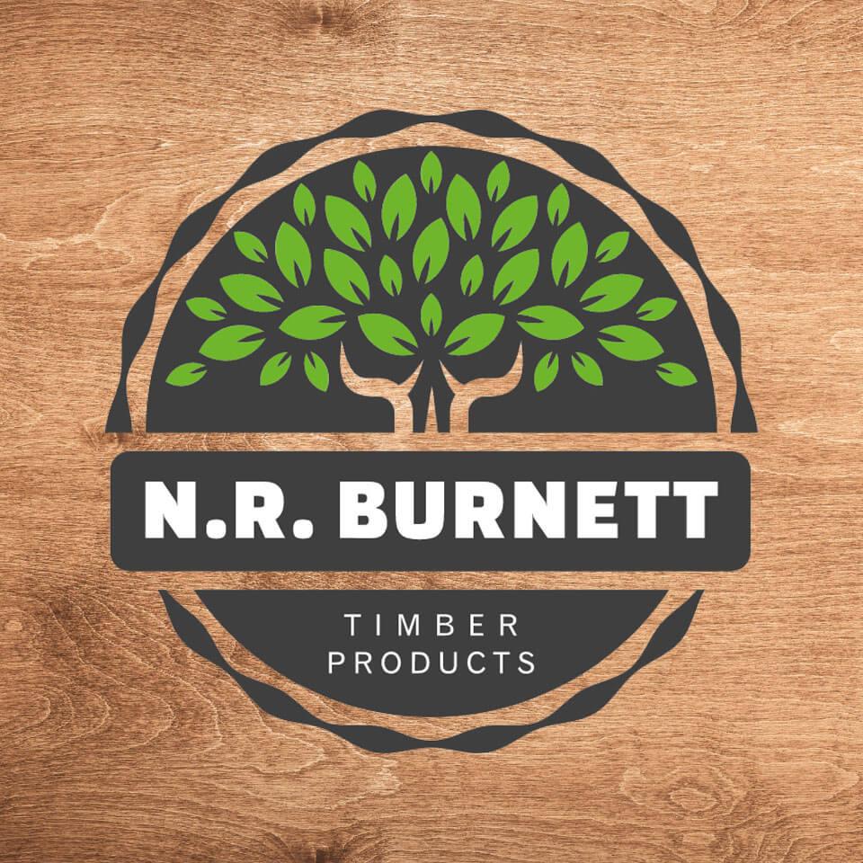NR Burnett Logo on Wooden Background