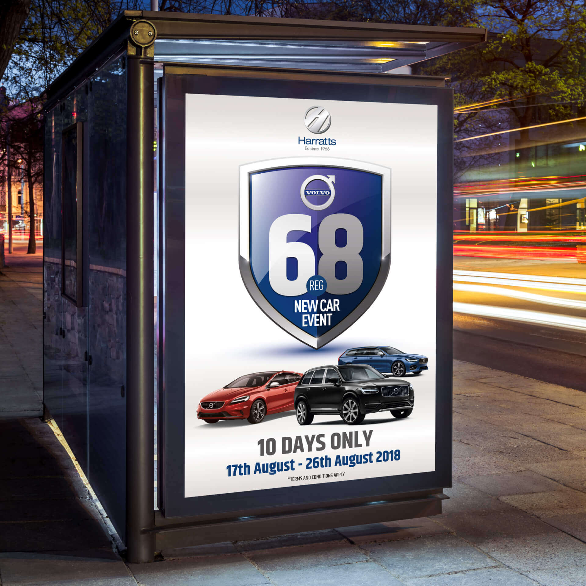 Harratts 68 reg Bus Stop Advertisement
