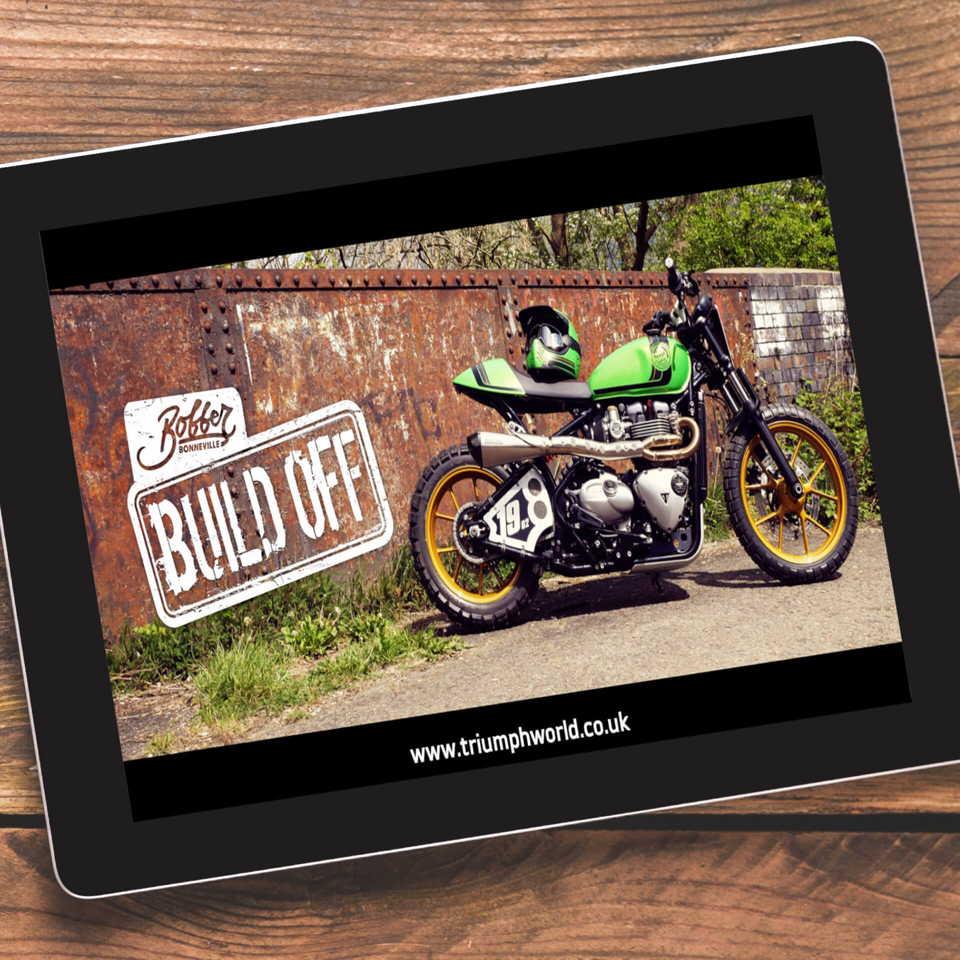 Bonnevile Bobber Video on tablet