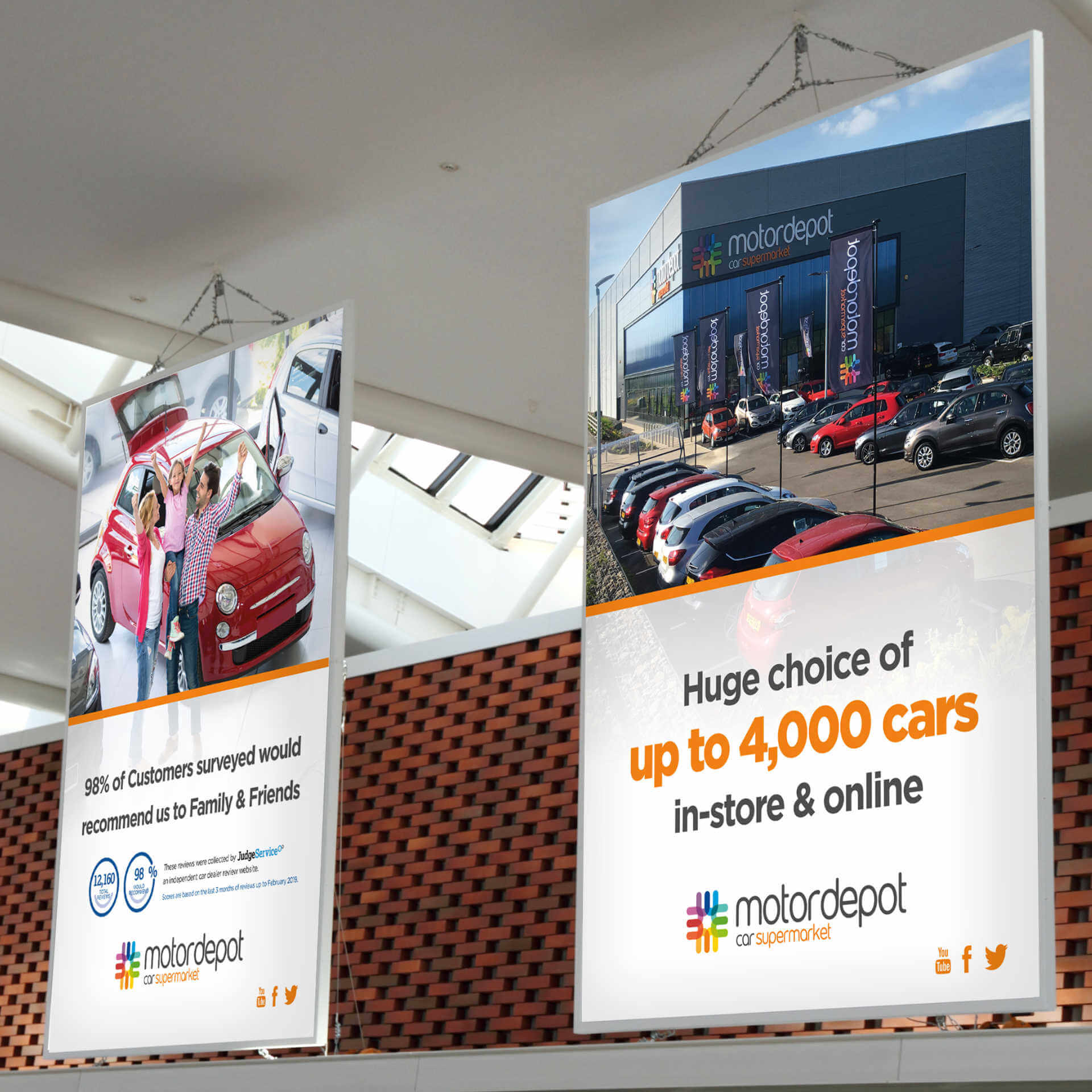 Motor Depot Showroom hanging posters