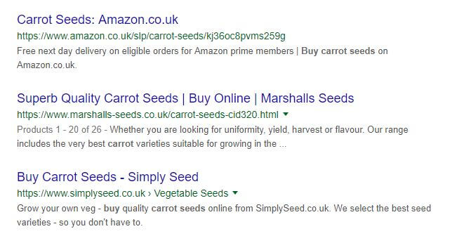 Organic SERP results for 'buy carrots'